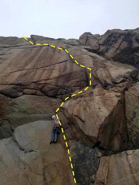 Unknown climber starting Kafoozalem (E3 6a)
