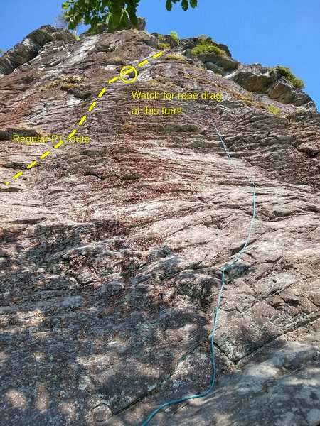 Variation start for P1, starting just to the right of where Cave Route P2 ends.  Gear was fiddly, and this creates a ton of rope drag once you rejoin the bolt line (I reached down to unclip the bolt after pulling the mini roof to help with this).