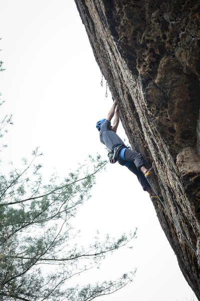 Travis Farnham heading towards the chains on the easy upper section of the route