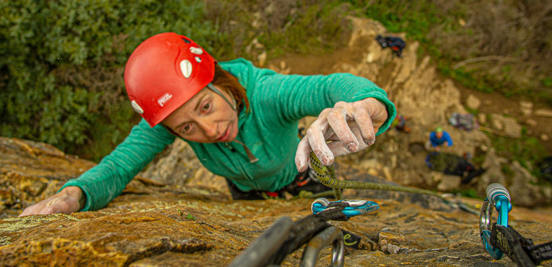 Mary-Ann clipping the anchor chains at the top of First Wall.