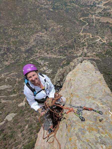 Prospective of belay stance before trending left to an OLD rusty bolt over a bulge to gain the ridgeline again.