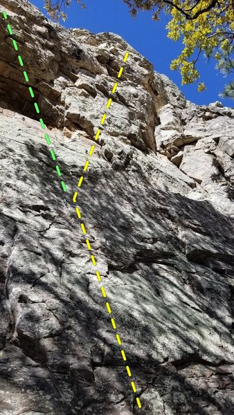 Beginning of peaceful pale-throat (yellow bolt line) & perezosos pull-up (green bolt line)