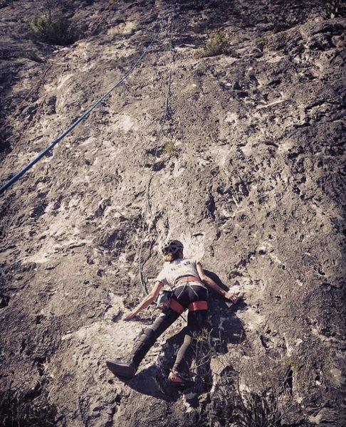 One climbing shoe + Orthopedic boot = killer combo hahaha