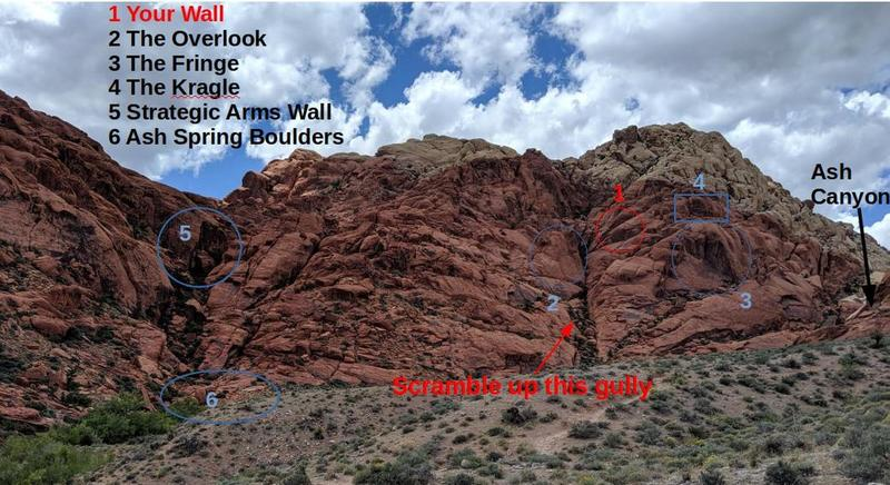 View of crags above Ash Spring and Canyon highlighting Your Wall