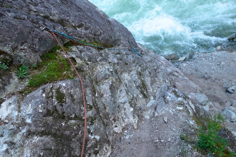 Fixed ropes at base of route. If you have a single 60, you can avoid a final rappel by downclimbing the fixed lines.