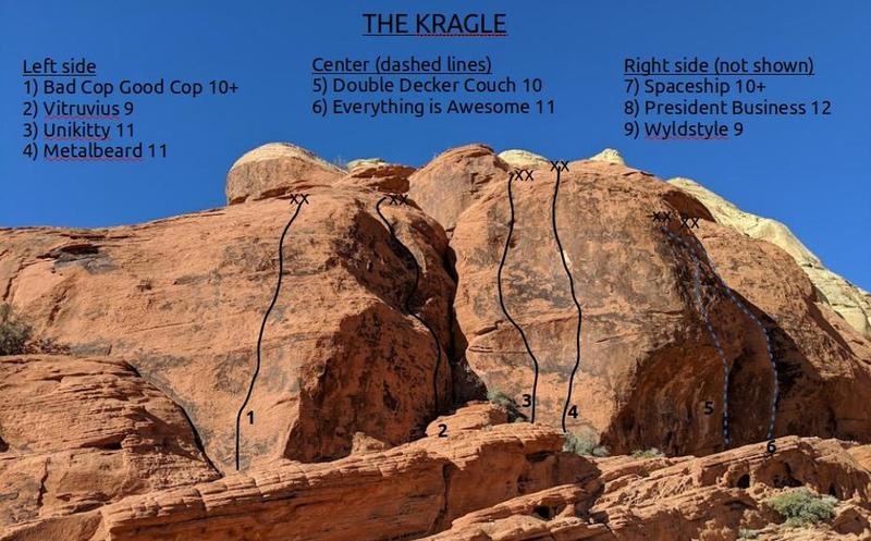 Routes on left side of the Kragle.