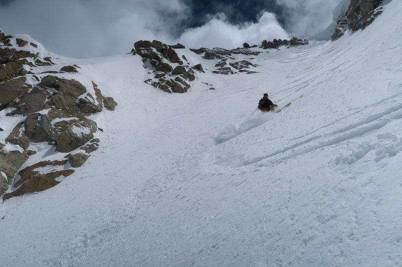 Skiing the Harrington Couloir on Mt. Thompson