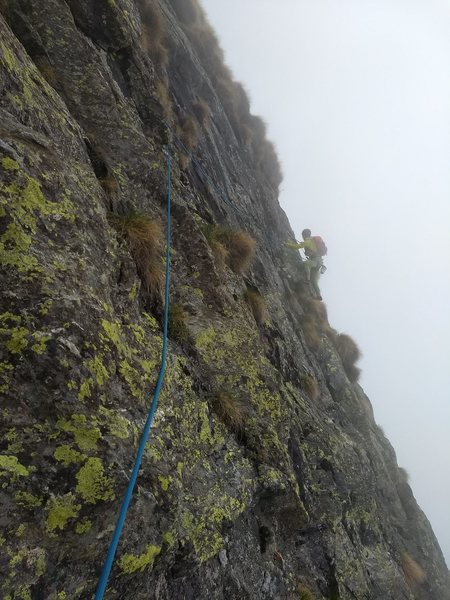 Sid about to round the corner near the end of the p2 traverse