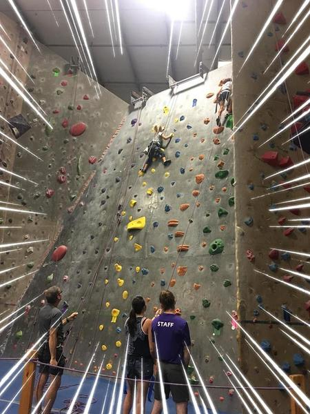 my duaghter's first time climbing, now she's 6 months in a climbing 5.8, 5.9's