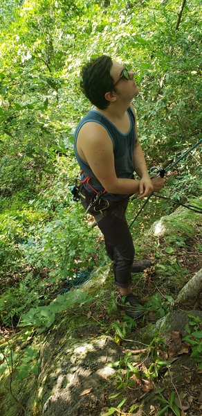 Me using the tree at the base as a belay tether