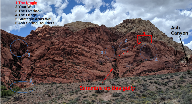 Approach pic for the Kragle. Scramble up the gully to the Overlook then head up to the north above the Fringe.