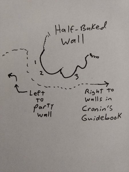 This wall is located just to the left of the wall described on page 143 of Mike Cronin's Guidebook<br> Routes from left to right<br> 1) This Is Your Brain On Jugs, 5.10a<br> 2) Sticky Iki, 5.9+<br> 3) Hash It Out, 5.10c
