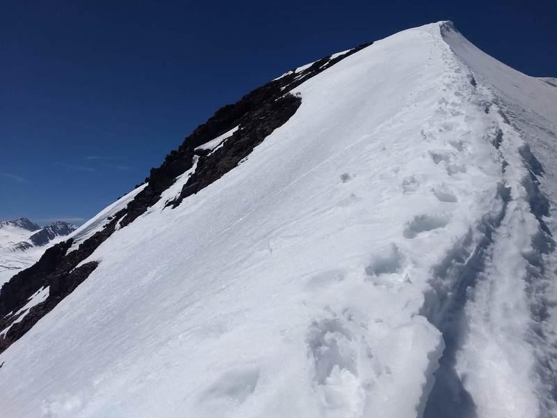 The exposed summit ridge