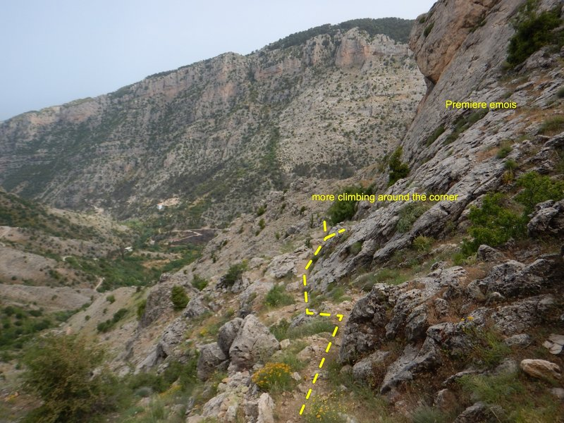 Approach: the first area of climbing