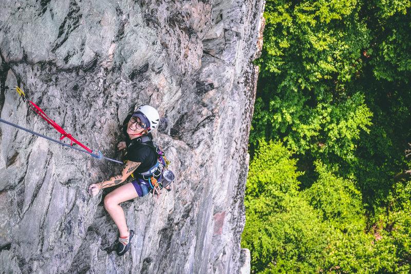 All smiles towards the top of the pitch. Photo by @eastcoastclimbs