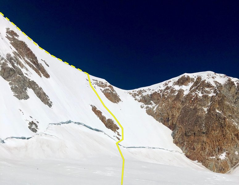 The NW Headwall.  Note a party of 2 guides and 1 client are descending just above the bergschrund for scale.