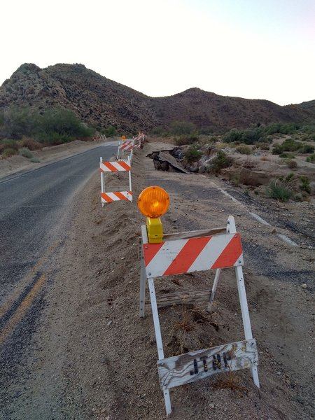 Damaged roadway in the Cottonwood Area, Joshua Tree NP