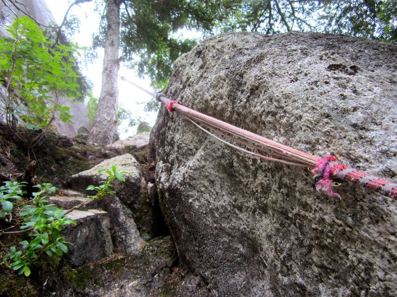 Frayed fixed rope between top of Pitch 3 and base of Pitch 4.
