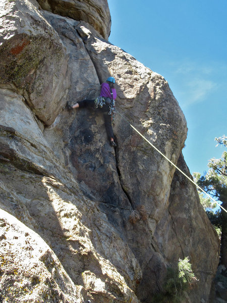the gazelle working the first crux, gloves/tape helps