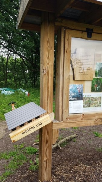 The Visitors Log can be found on the left side of the kiosk. Please make sure to sign in every time you visit as this will help the CCPD and OCC track how many visitors are coming to Gorge (a valuable statistic for future grants and projects).