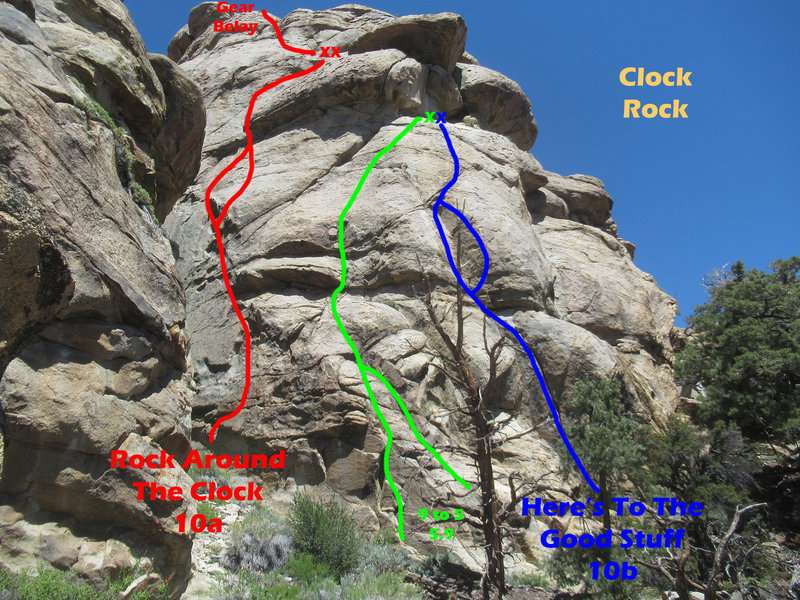 Clock Rock - right side routes