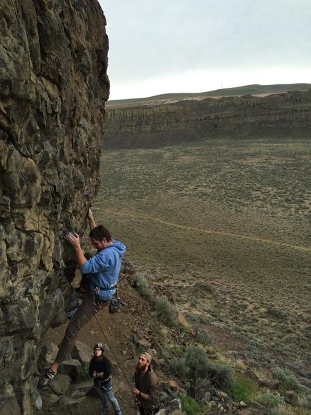 Climbing Dew Claw.  Would recommend the route, but not forgetting your harness and making one from slings!