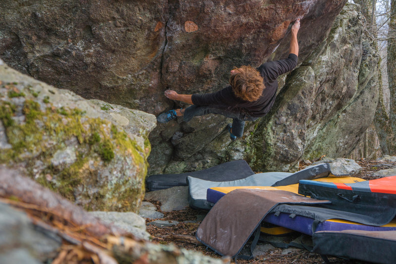 Tyler setting in for the crux moves of Shanghai