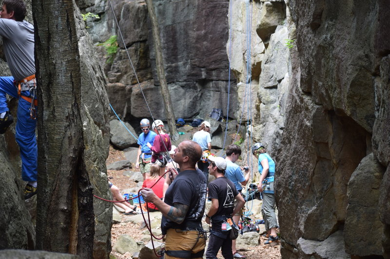 Belay scene in the Library, looking from the back towards the entrance
