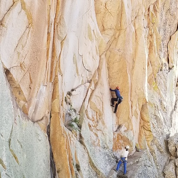 Greg Kay on the FA of the new route we put up. Audrey Margirier is the belayer and got the super sexy most coveted 2nd ascent. Hard to believe these nice single pitch routes keep getting put up