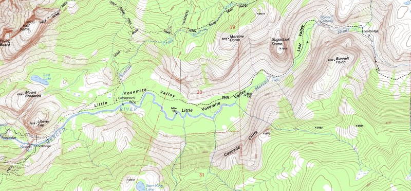Little Yosemite Valley - USGS topo map - Moraine Dome, Sugarloaf Dome (label added), Bunnell Point, Cascade Cliffs