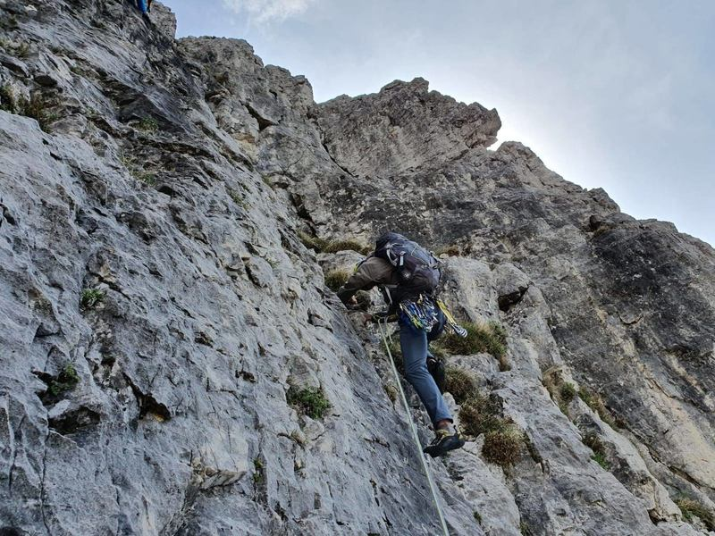 Stefano starting up pitch 2, about to traverse left into the crux