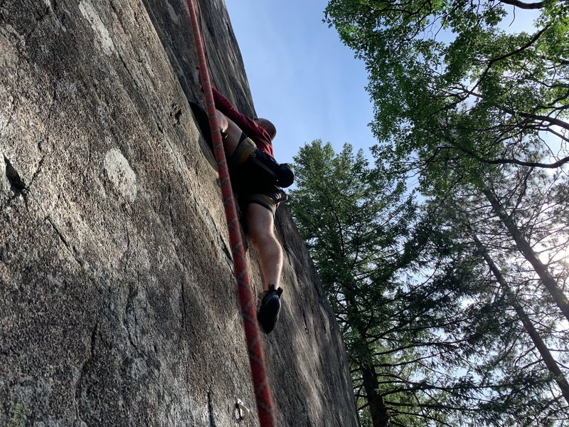 Alec TRing the thin start. His TC Pro's were too tight so we traded shoes for this climb despite my 5.10's being way too big, he still sent.