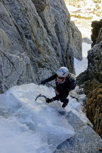 NB enjoying more alpine ice higher on the climb