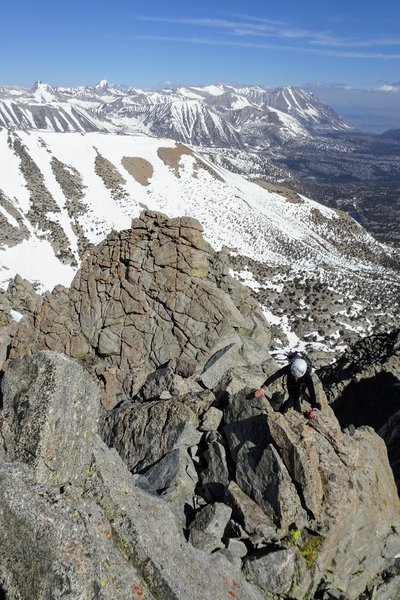 Scrambling along the final ridgeline to the summit. Red and White Mountain, Red Slate Mountain, and Mt Morgan North can be seen behind.