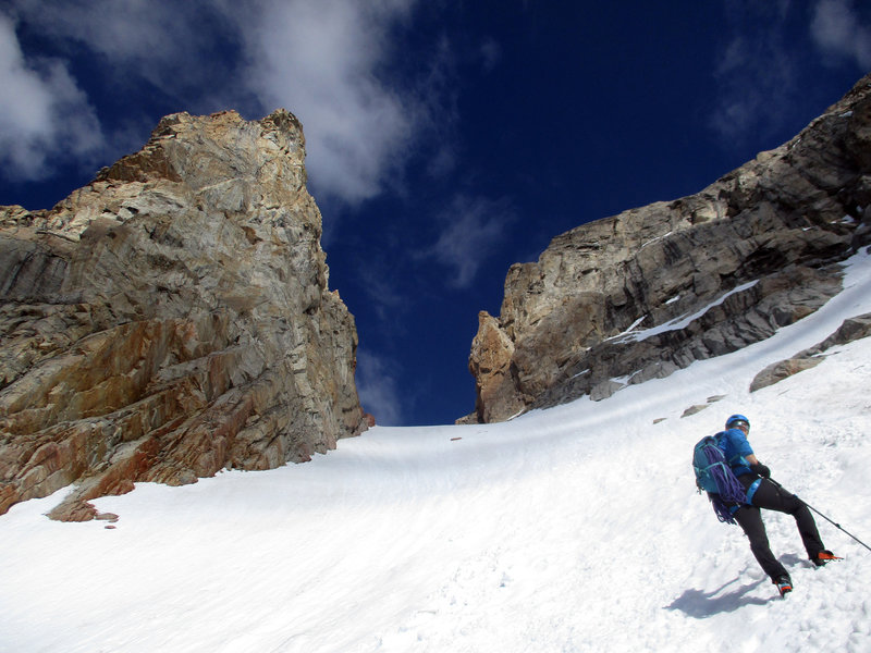 John ascending the Teepe Glacier to Teepe Col on our way to the Stettner Couloir. Naturally, Teepe Pillar is that pointy bit on the left.