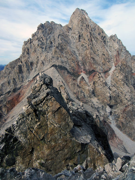 Bonneys Pinnacle (front) & Pinocchio Pinnacle (behind) in front of the Grand Teton seen from the North Ridge of Middle Teton.