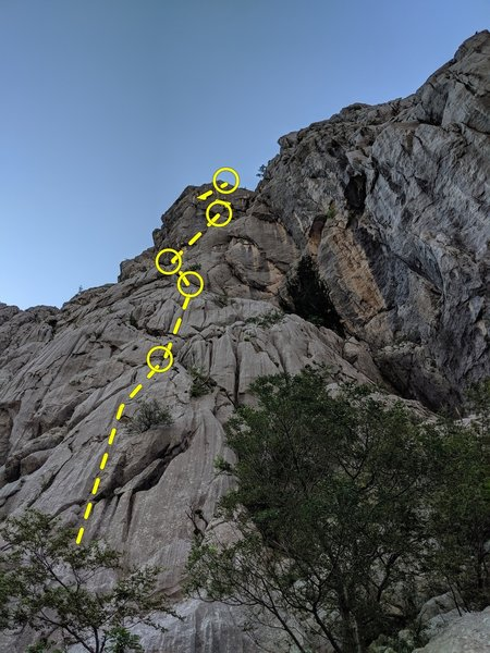You can almost see the entire route here, first through 5th pitches.