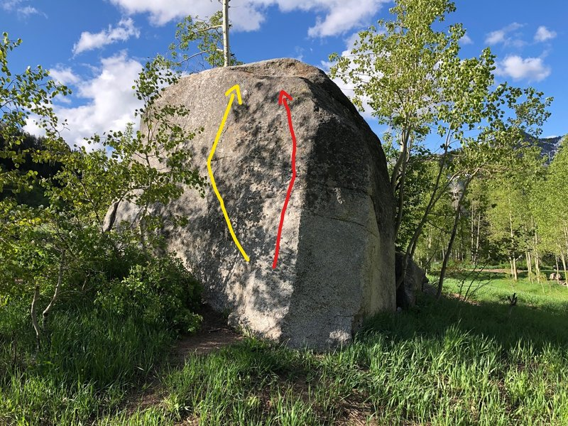 Two problems on the north side of the Will Ferrell Boulder.