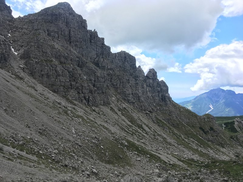 those steep scree approaches though....
