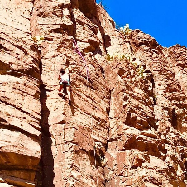 Omega finishing strong on the arete.