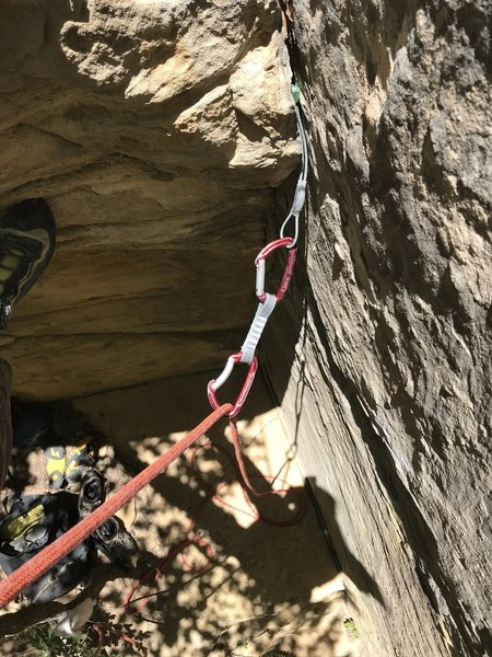 First piece adds confidence as you pull the crux off the ground.