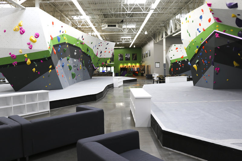 Largest indoor bouldering space in a five-state radius with 16 ft. tall walls
