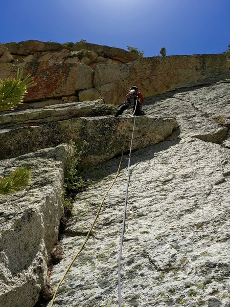Andy leads through the crux pitch (Pitch 5) on the Summer Solstice.
