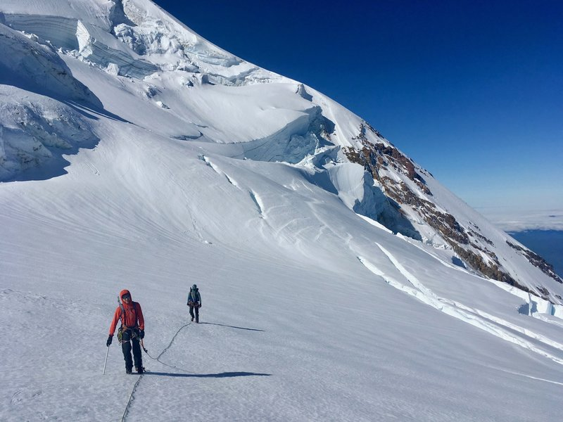 Traversing the upper portion of the Adams Glacier just before the final steep snow field (June 2019)