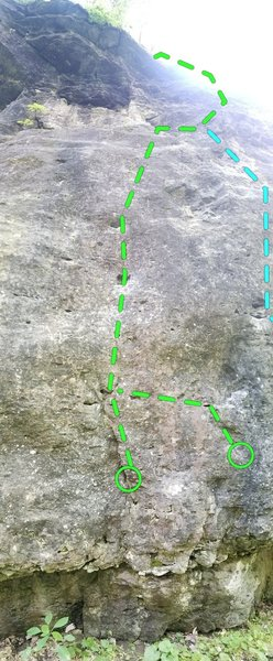 Left, pockets to ledge using your sea legs. Right, alt start for the more daring. Both gain ledge to a fun jug ride to finish.