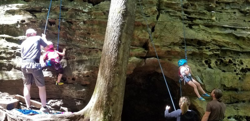 Girls with grit, tackling pee-wee and audie!<br> A fun way to intro our kiddos to the red!<br> (Gaining control over the cave on Audie is scary for the little ones. Navigating the left or rt. side creates too much swing for the lil' ones. Assist above cave hole
