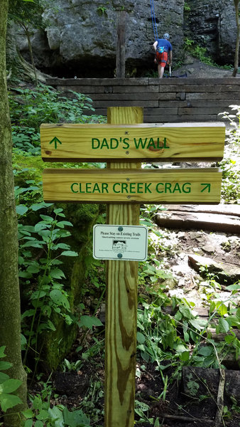 Dad's Wall/ Clear Creek Crag wall sign (please use trail 10 feet right of sign that goes around retaining wall)
