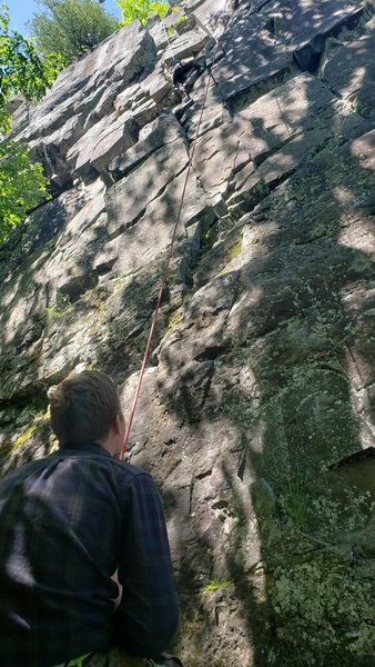 Block and a hard place offers a nice shady spot to belay from. Just watch out for the flies!
