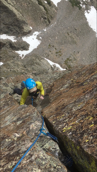Ryan Dresser on the upper corner pitches. Steep and classic.