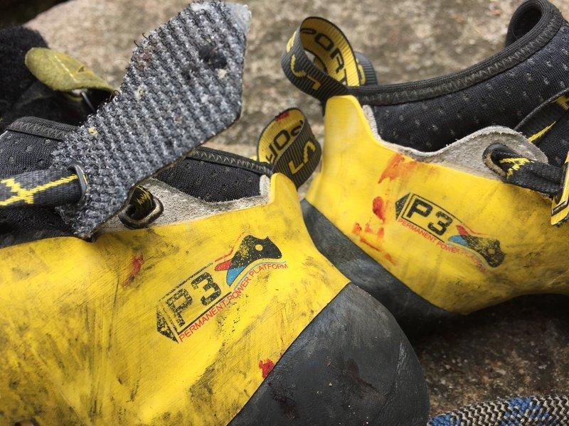 Shoes after speed climbing The Zipper.